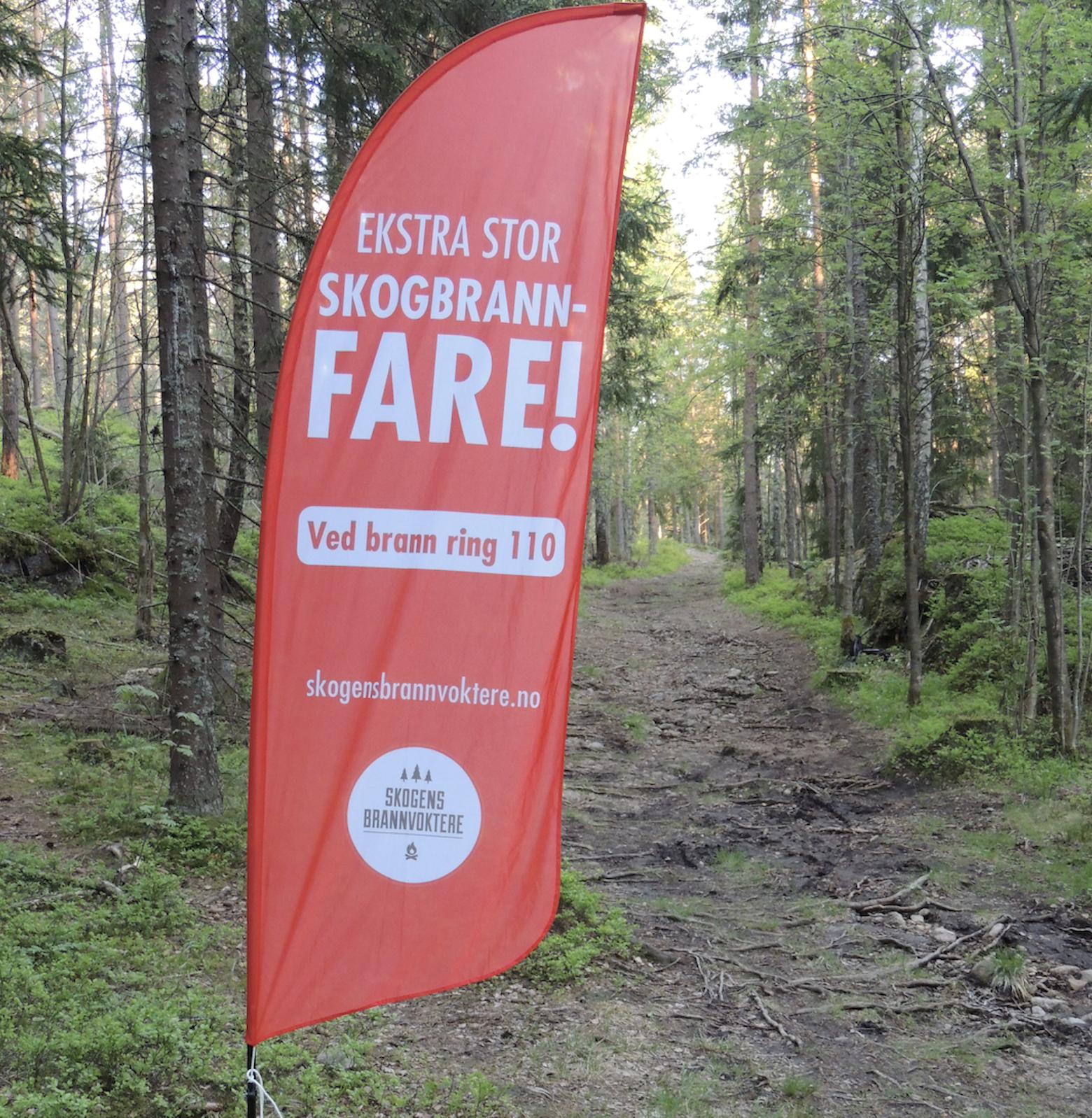 Beachflag som varsler skogbrannfare
